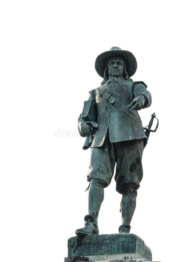 Standbeeld van Oliver Cromwell in zijn geboortestad St Ives in Cambridgeshire, Engeland stock foto's