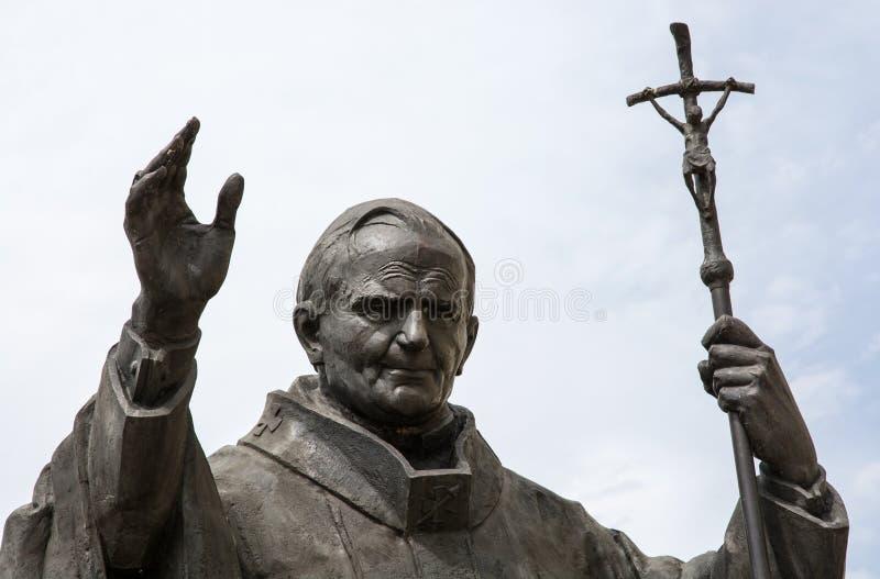 Standbeeld van paus Johannes Paulus II in Nitra royalty-vrije stock foto