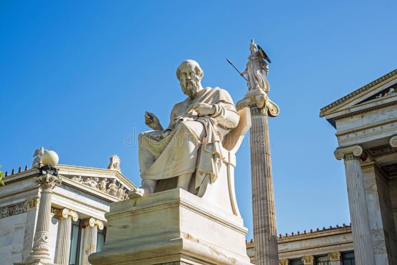 Standbeeld van Plato in Athene royalty-vrije stock afbeelding