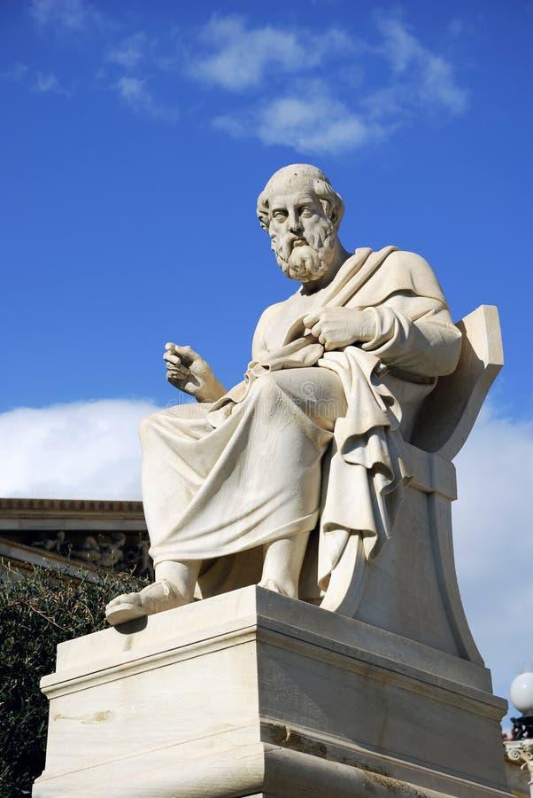 Standbeeld van Plato bij de Academie van Athene (Griekenland) royalty-vrije stock foto