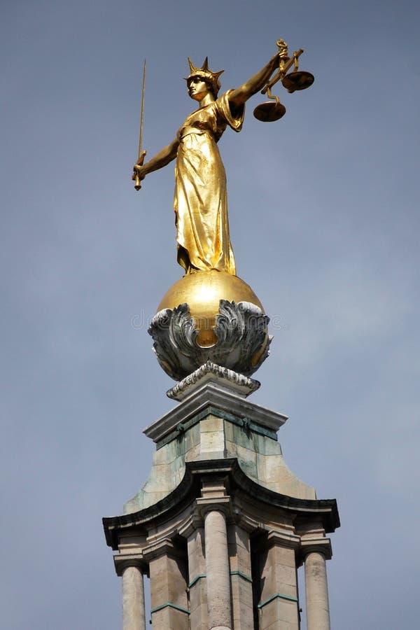 Standbeeld van Rechtvaardigheid, Oude Vestingmuur, Londen stock foto's