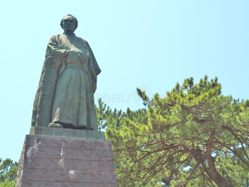 Standbeeld van Sakamoto Ryoma in Kochi, Japan stock foto's