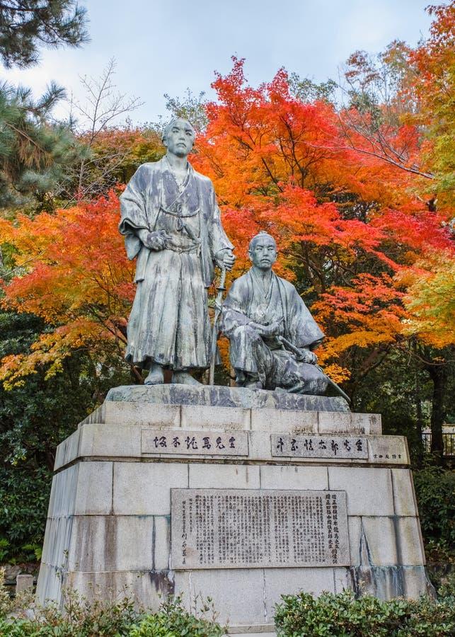 Standbeeld van Sakamoto Ryoma met Nakaoka Shintaro royalty-vrije stock foto's