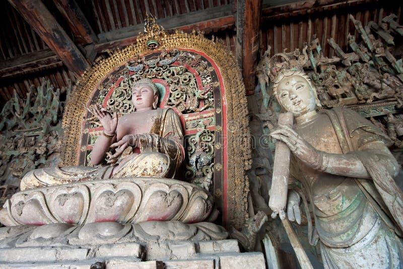 Standbeeld van Sakyamuni Boedha en vrouwelijke bodhisattva stock afbeelding