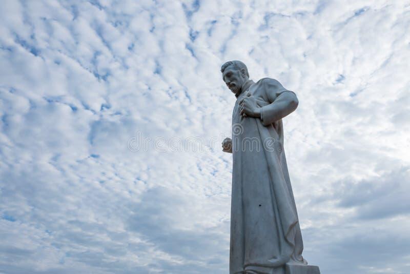 Standbeeld van St Francis Xavier voor de ruïnes van St Paul royalty-vrije stock fotografie