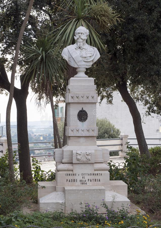 Standbeeld van Victor Emmanual II in openbaar park in Locorotondo, Italië royalty-vrije stock foto's