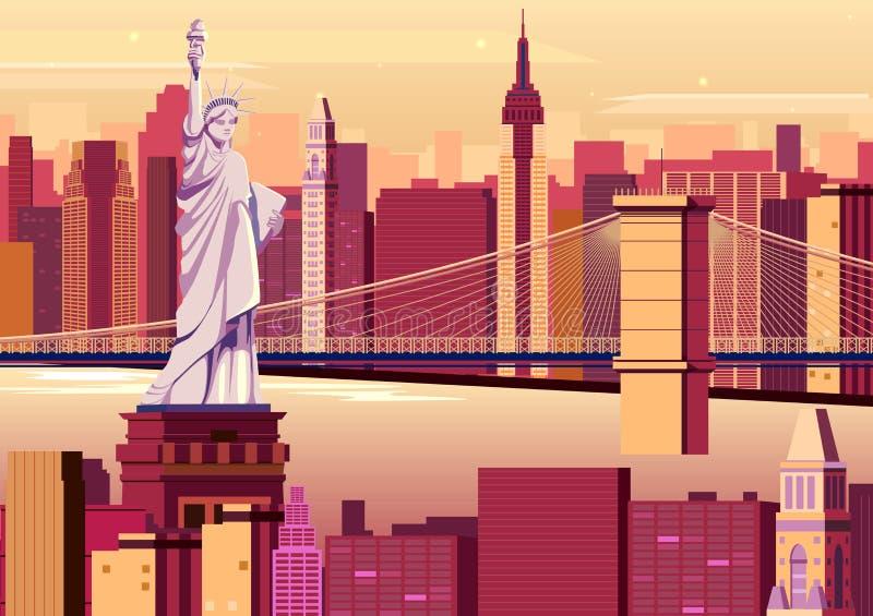 Standbeeld van Vrijheid in de Stad van New York royalty-vrije illustratie