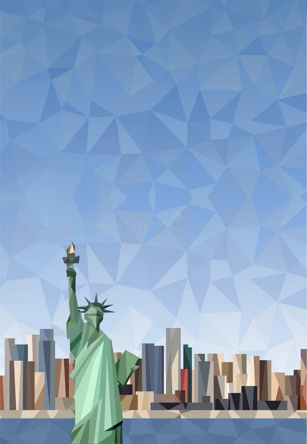 Standbeeld van Vrijheid in de Stad van New York vector illustratie