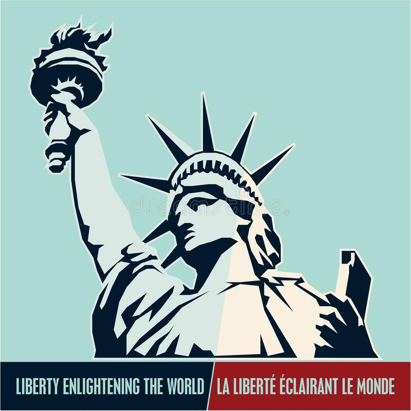 Standbeeld van Vrijheid & de Zonsondergang van de Stad van New York De V.S. vector illustratie