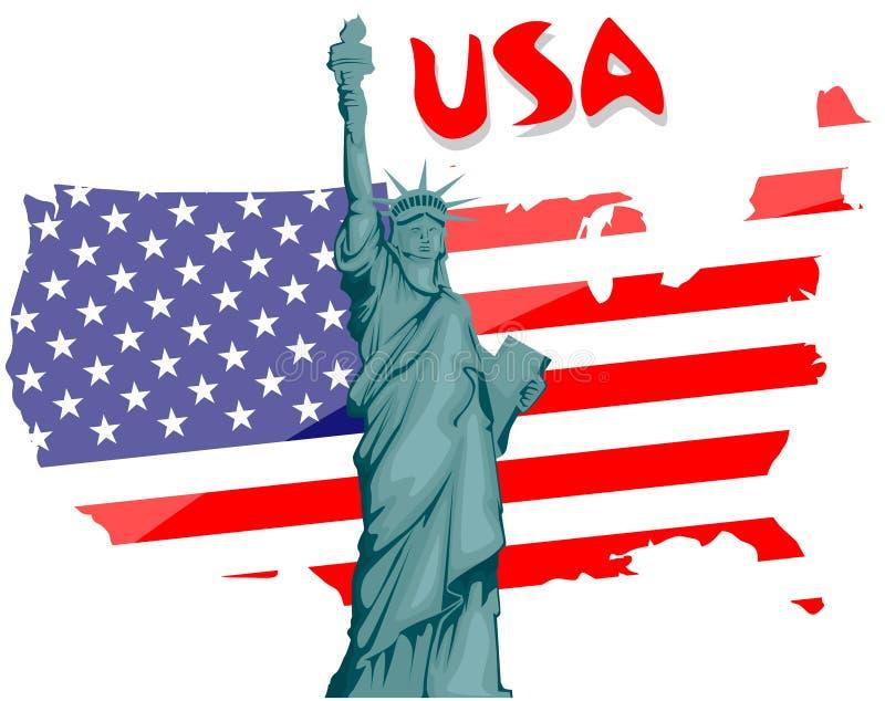 Standbeeld van Vrijheid & de Zonsondergang van de Stad van New York vector illustratie