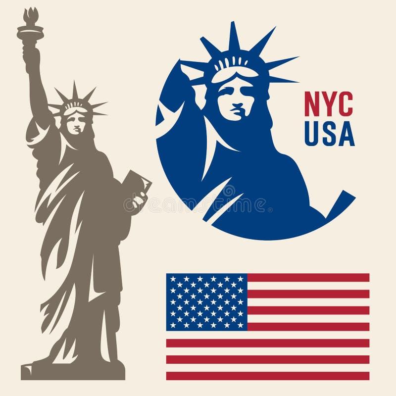 Standbeeld van Vrijheid & de Zonsondergang van de Stad van New York stock illustratie