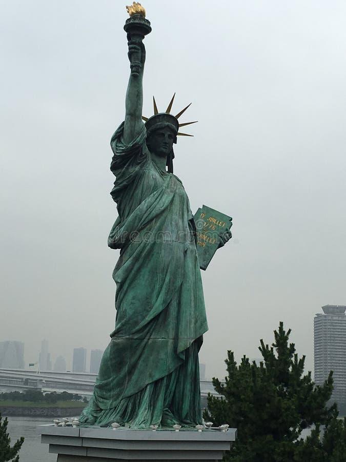 Standbeeld van Vrijheid & de Zonsondergang van de Stad van New York stock afbeelding
