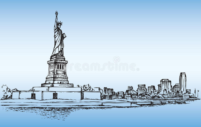 Standbeeld van Vrijheid & de Zonsondergang van de Stad van New York EPS 10 vector illustratie