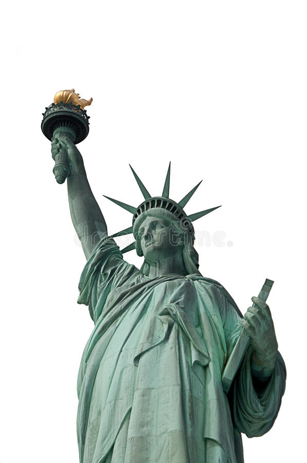 Standbeeld van Vrijheid die op Wit wordt geïsoleerdi royalty-vrije stock fotografie