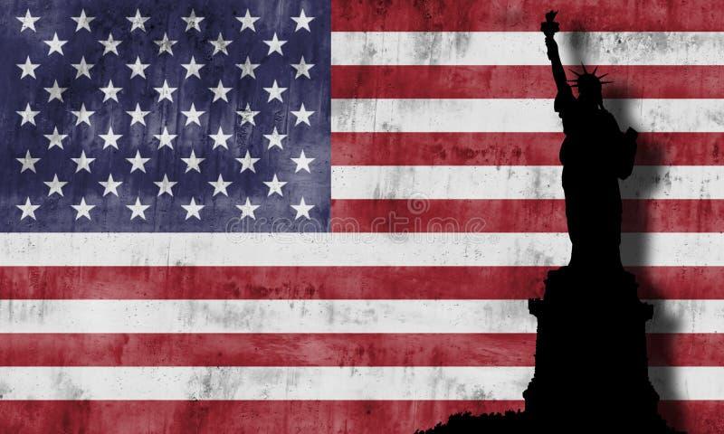 Standbeeld van vrijheid en Amerikaanse vlag. stock foto