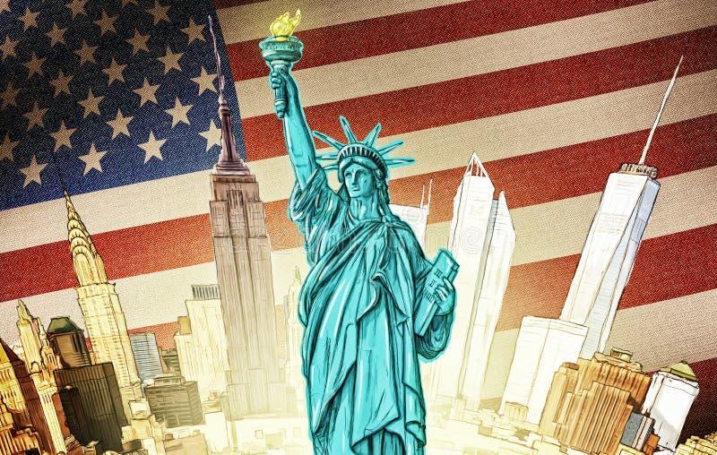 Standbeeld van Vrijheid - Illustratie royalty-vrije illustratie