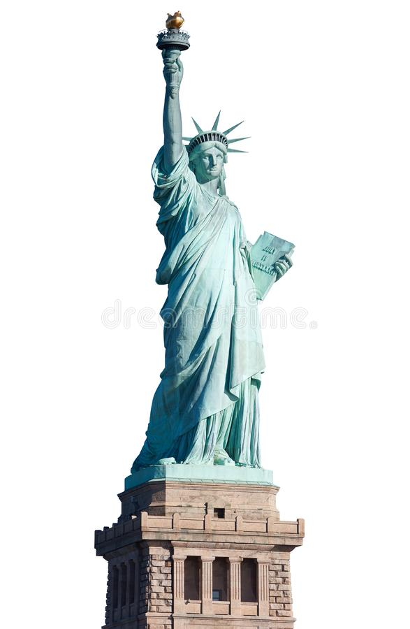 Standbeeld van Vrijheid met voetstuk op wit, het knippen weg stock afbeeldingen