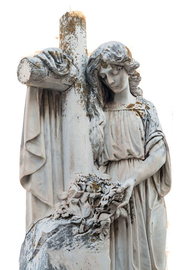 Standbeeld van vrouw met Kruis royalty-vrije stock foto's