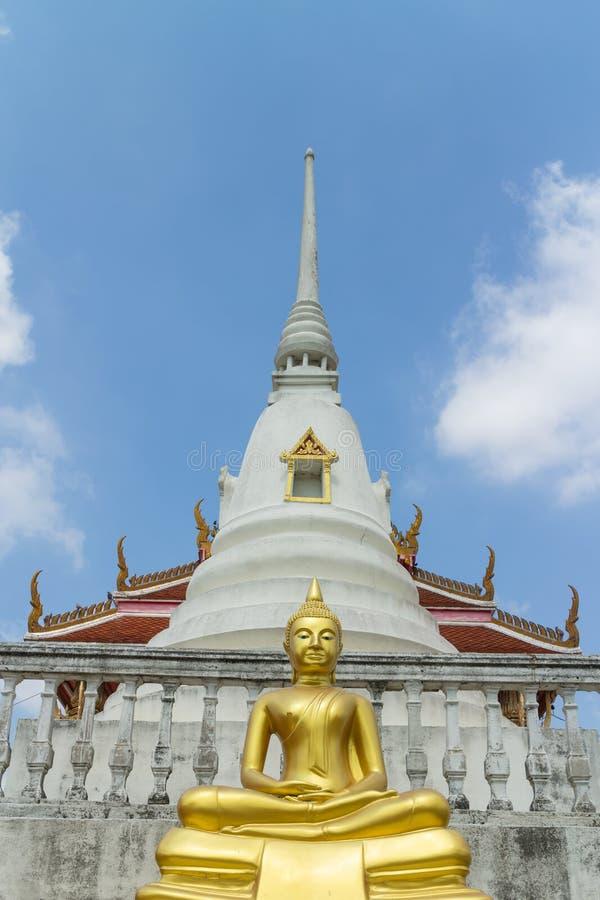 Standbeeld van zittings het gouden Boedha met pagodeachtergrond royalty-vrije stock fotografie