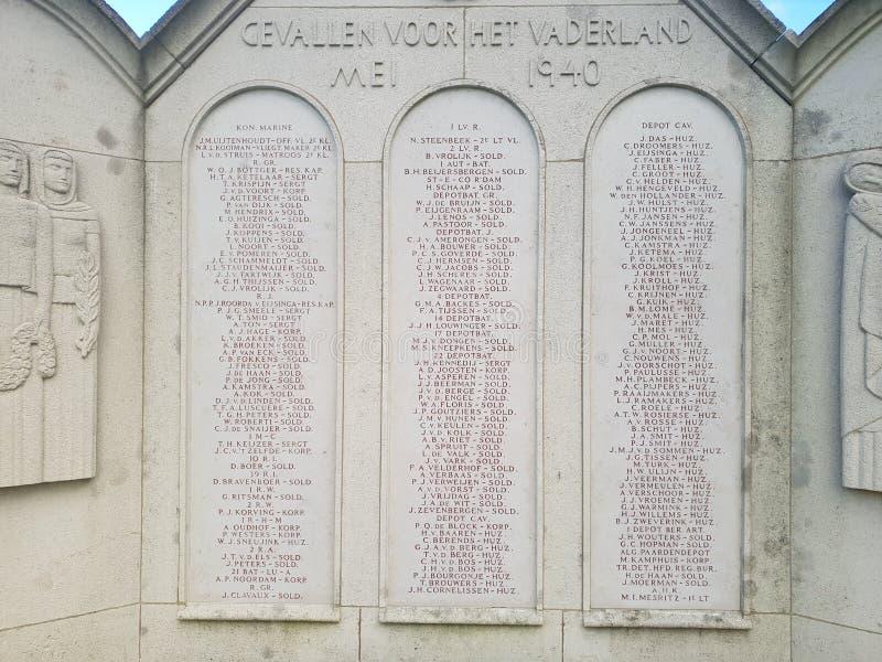 Standbeeld voor militairen gevallen bij de slag van Den Haag The Hague tijdens wereldoorlog 2 stock afbeeldingen