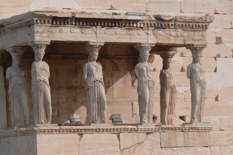 Standbeelden 3 van de akropolis royalty-vrije stock foto