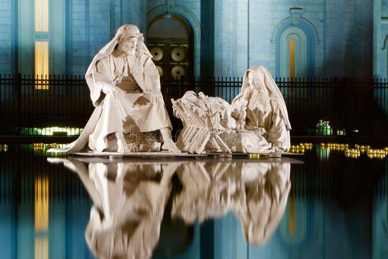 Standbeelden bij Tempelvierkant royalty-vrije stock foto's