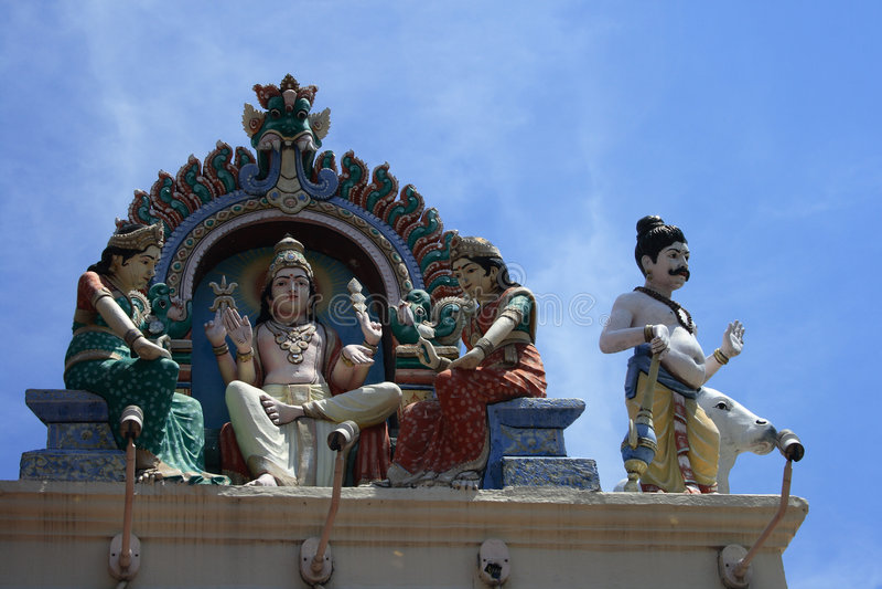 Standbeelden in Hindoese Tempel royalty-vrije stock foto's