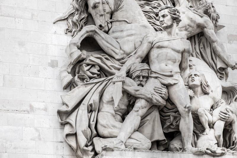 Standbeelden op Arc de Triomphe royalty-vrije stock foto's