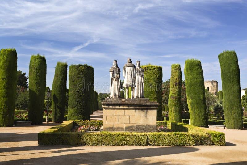 Standbeelden van de Katholiek Monarchen en Christopher Columbus stock fotografie