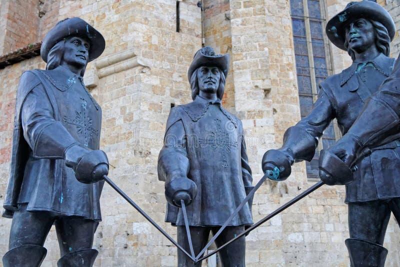 Standbeelden van de musketiers in Condoom royalty-vrije stock afbeelding