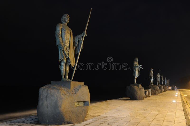 Standbeelden van Koningen Guanches in Candelaria, Tenerife stock afbeeldingen