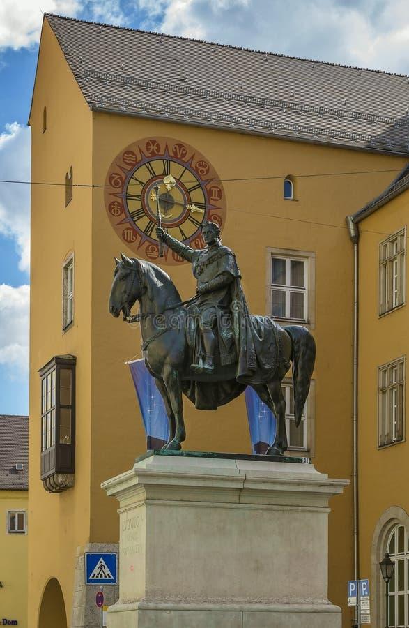 Standbeeldkoning Ludwig I, Regensburg, Duitsland stock afbeelding