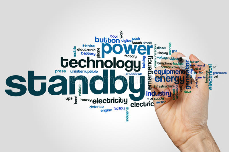 Standby word cloud. Concept on grey background stock image