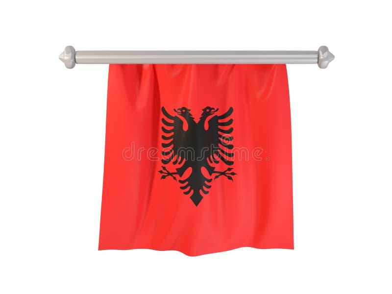 Standert med flaggan av Albanien vektor illustrationer