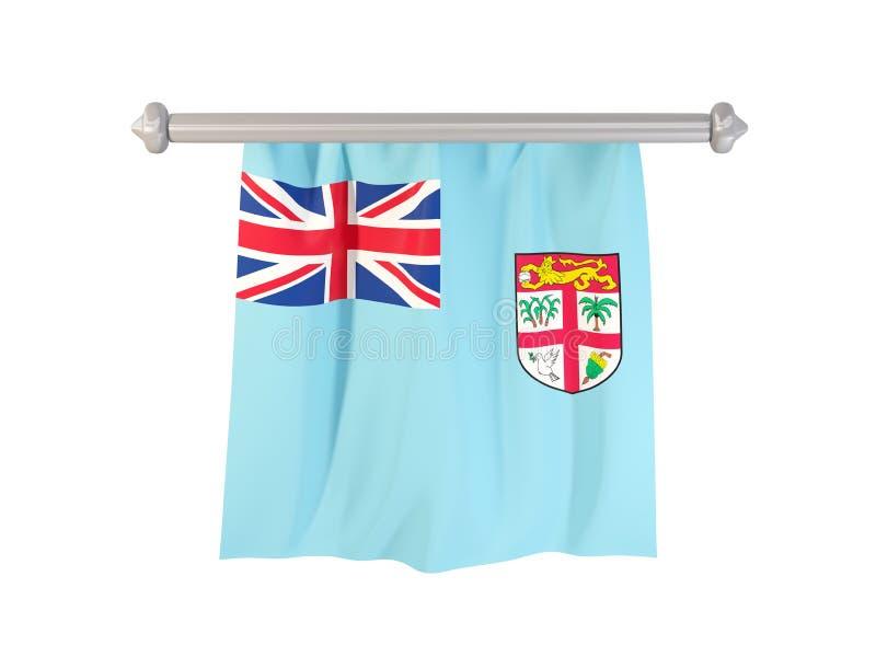 Standert med flaggan av Fijiöarna vektor illustrationer