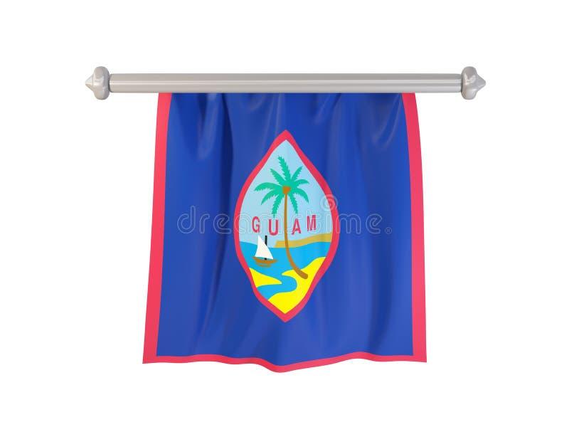 Standert med flaggan av Guam vektor illustrationer