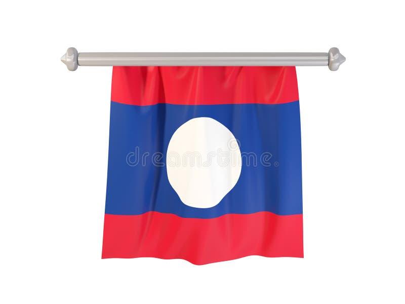 Standert med flaggan av Laos stock illustrationer