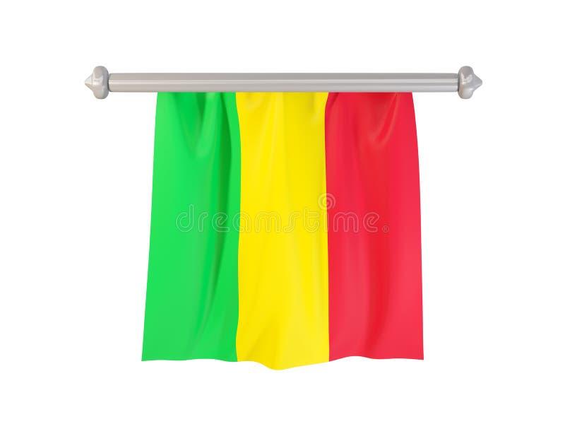 Standert med flaggan av Mali vektor illustrationer