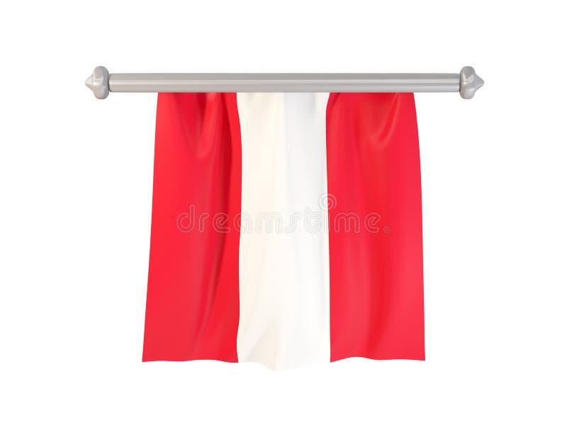 Standert med flaggan av Peru royaltyfri illustrationer