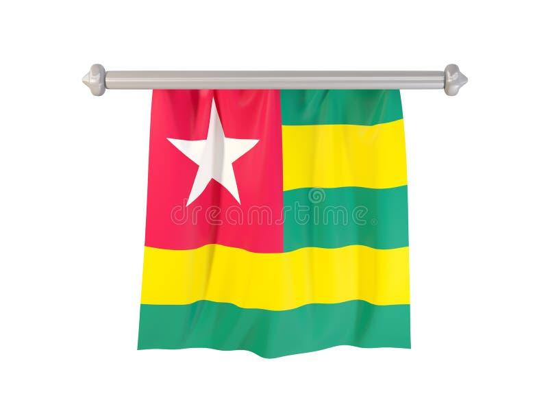 Standert med flaggan av Togo royaltyfri illustrationer