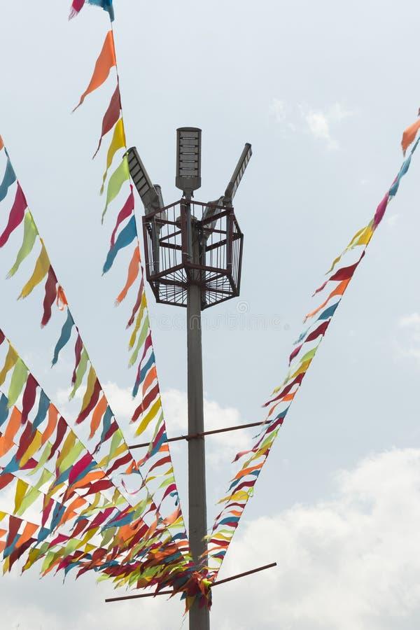 Standertrad med färger RYMMER TILL EN LJUS STOLPE i makroen Medellin royaltyfri foto