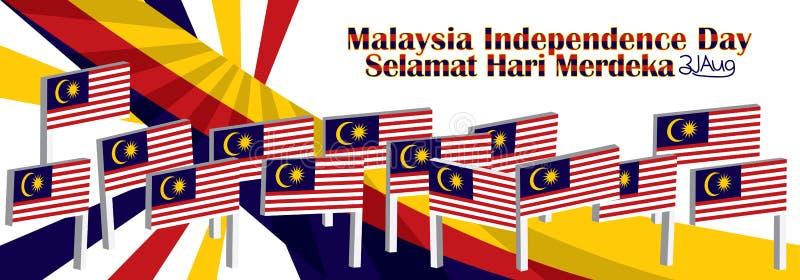 Standflaggen-Seitenraum 3d Malaysia stock abbildung