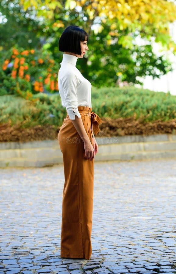Standfreien-Naturhintergrund der Frau moderner brunette Mode- und Artkonzept M?dchen mit dem Make-up, das herein aufwirft stockfoto