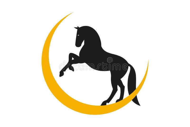 Standimg de cheval sur la lune illustration libre de droits