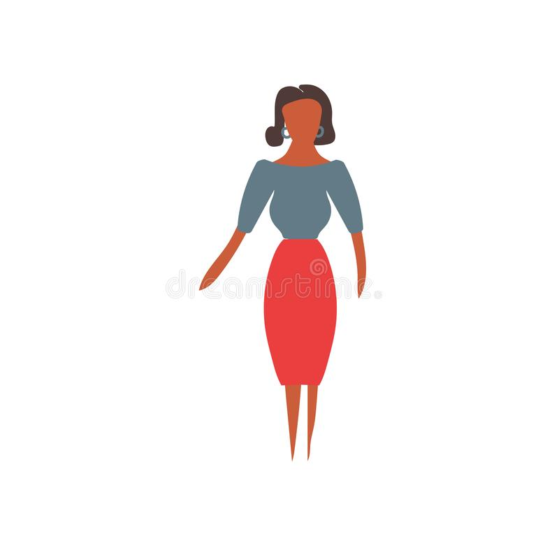 standing African woman vector vector sign and symbol isolated on white background, standing African woman vector logo concept stock illustration