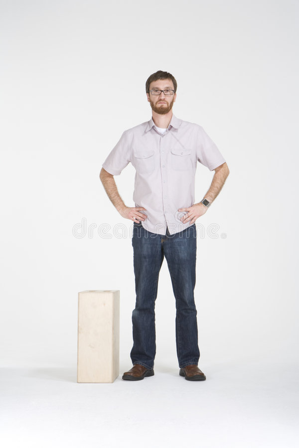 Download Standing With And Apple Box Stock Image - Image of pants, glasses: 4605119
