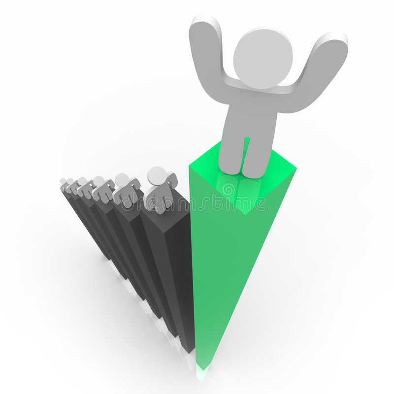 Standing Atop Green Bar Graph stock illustration