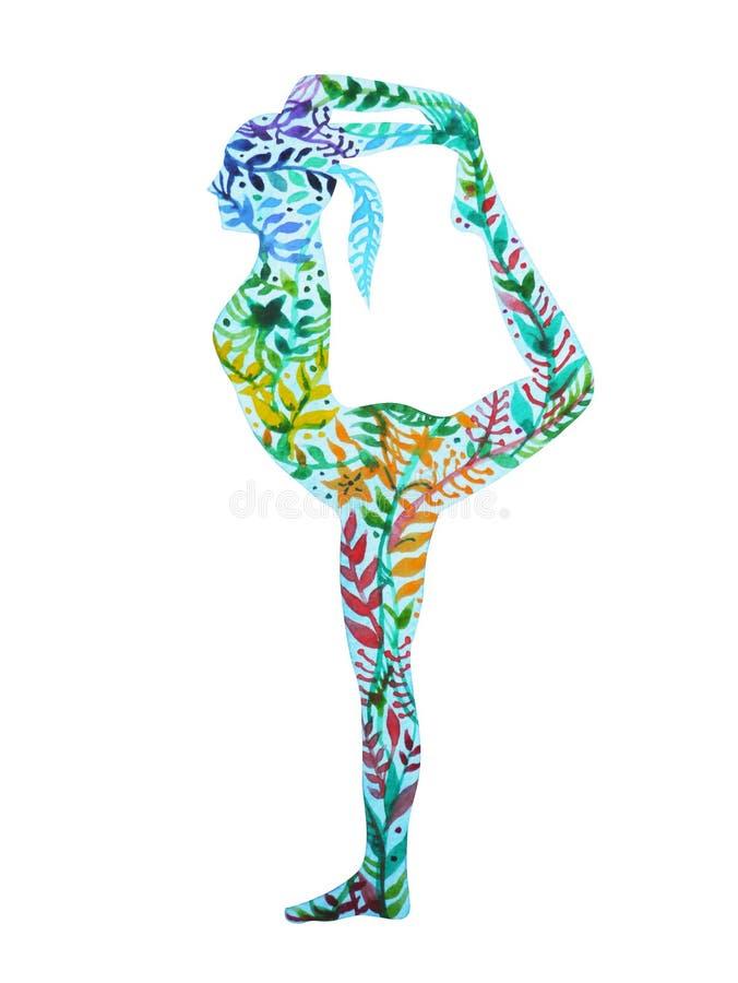 Standing back bending 1 leg yoga pose, 7 color chakra watercolor painting. Standing back bending 1 leg yoga pose, 7 color chakra watercolor flower floral pattern royalty free illustration