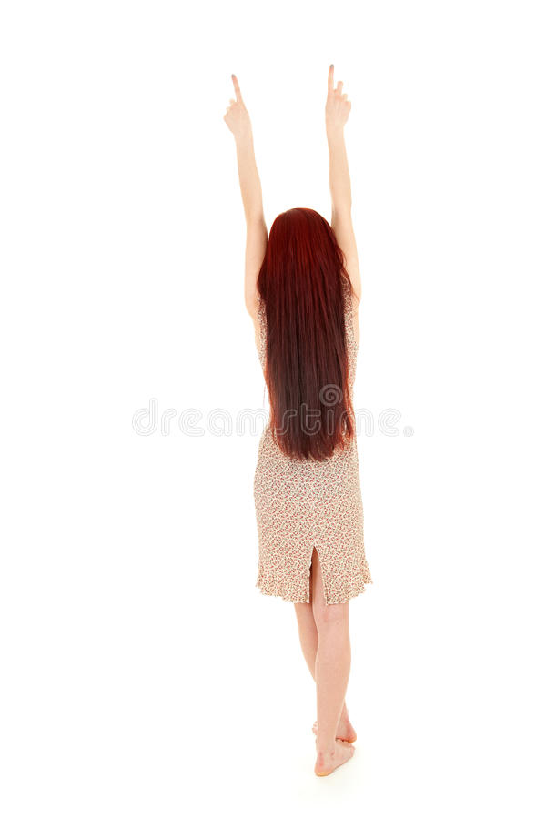 Download Standing Backwards Girl Pointing Up, Full Length Stock Photo - Image: 26435040