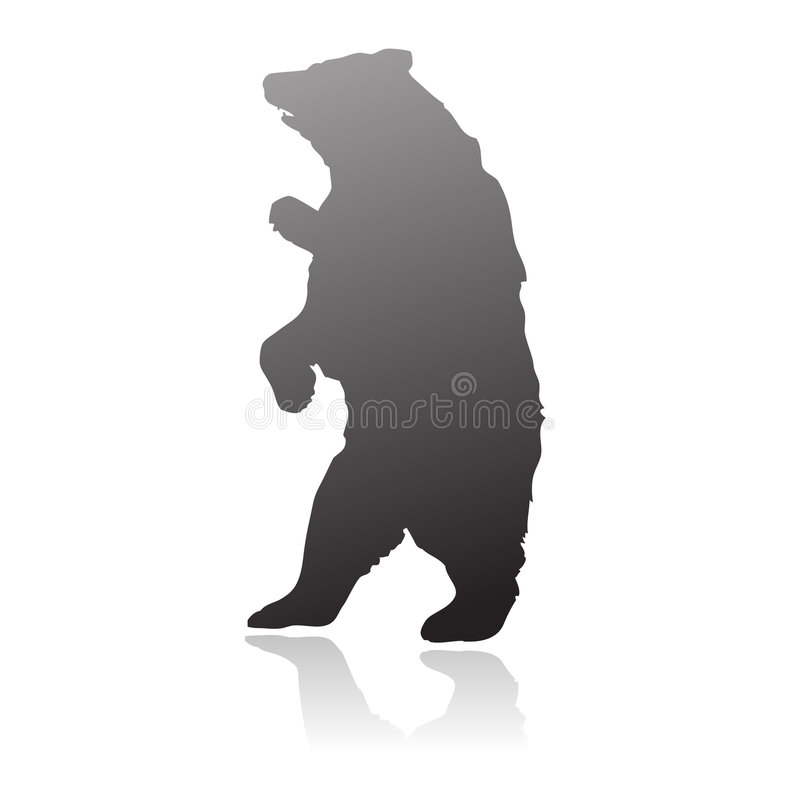 Standing bear silhouette vector royalty free illustration